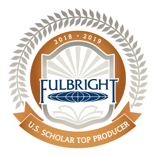 Fulbright Scholar 2018-2019 top producer logo - featuring Fulbright logo surrounded by a laurel.