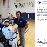 SF basketball presents an award to Robbie Lumpkins. SF Student Body President Alejandro Puga and SF Associate Athletic Director Richanna Lindo are pictured with Robbie.