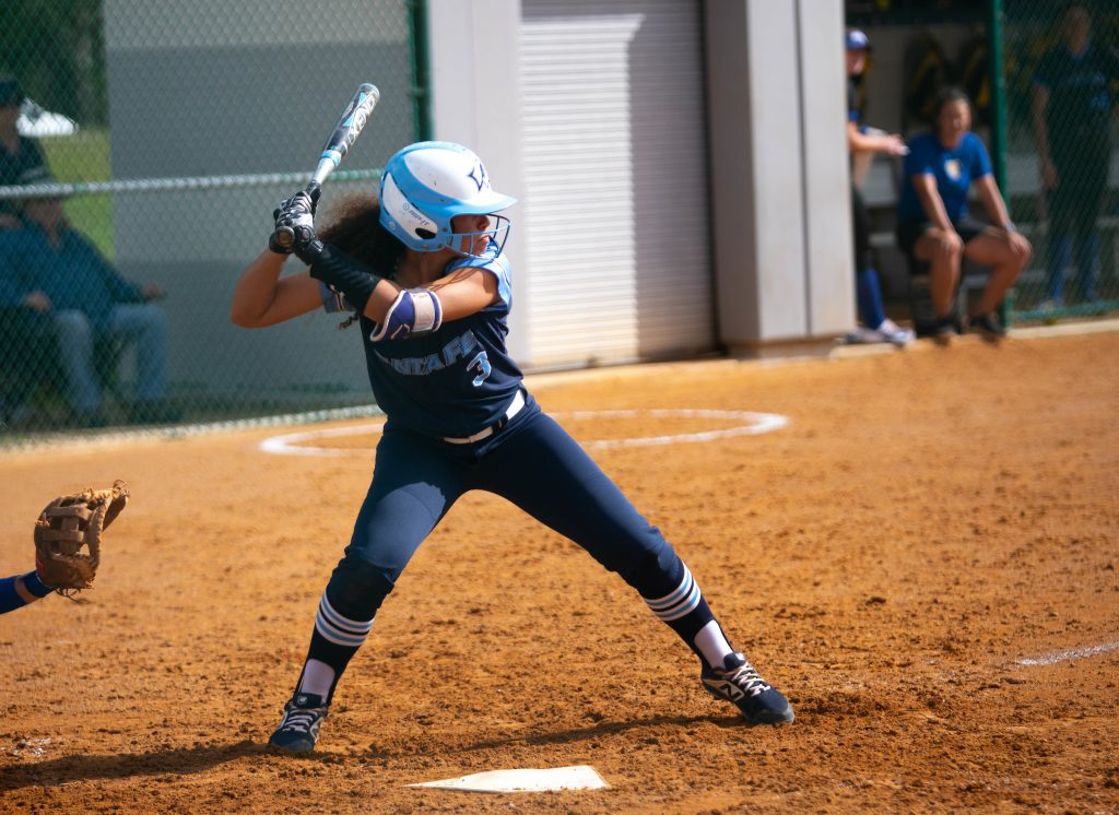 SF Freshman Karina Ortiz-Munoz at the plate about to get a hit in a softball game.