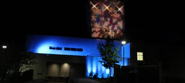 The SF Fine Arts Hall, lit blue in honor of World Autism Awareness Day.