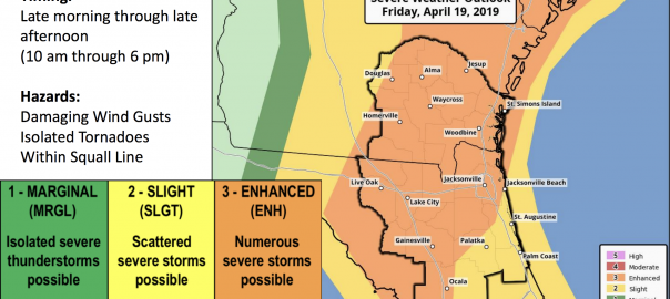 National Weather Service map showing north central Florida with an enhanced risk of severe storms APril 19, 2019.