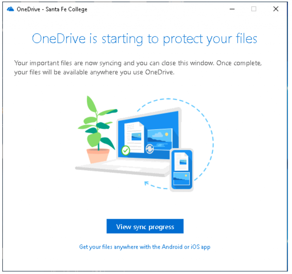 What users will see as Microsoft OneDrive is protecting files.