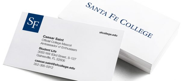 The new Santa Fe College business cards.