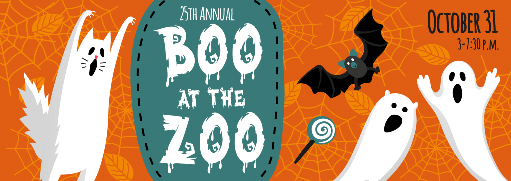 25th Annual Boo at the Zoo logo with ghosts and bats