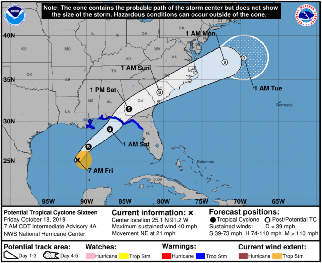 Projected path of potential tropical cyclone 16