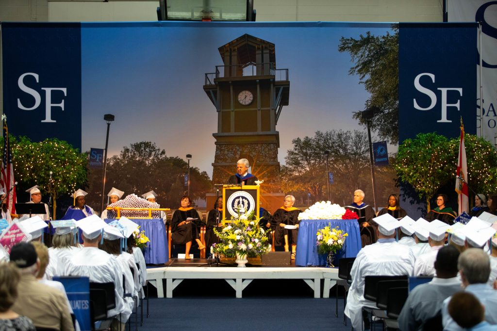 Dr. Sasser addressing students during the Nursing graduation in the spring of 2019.