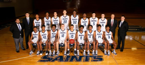 Team photo of the 2019 - 2020 Santa Fe College men's basketball team.