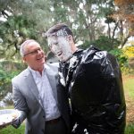 Santa Fe College Vice President for Advancement Chuck Clemons won the annual United Way Penny Wars giving him the honor of throwing a pie in the face of SF Student Body President Alejandro Puga Monday, Dec. 3, 2018.