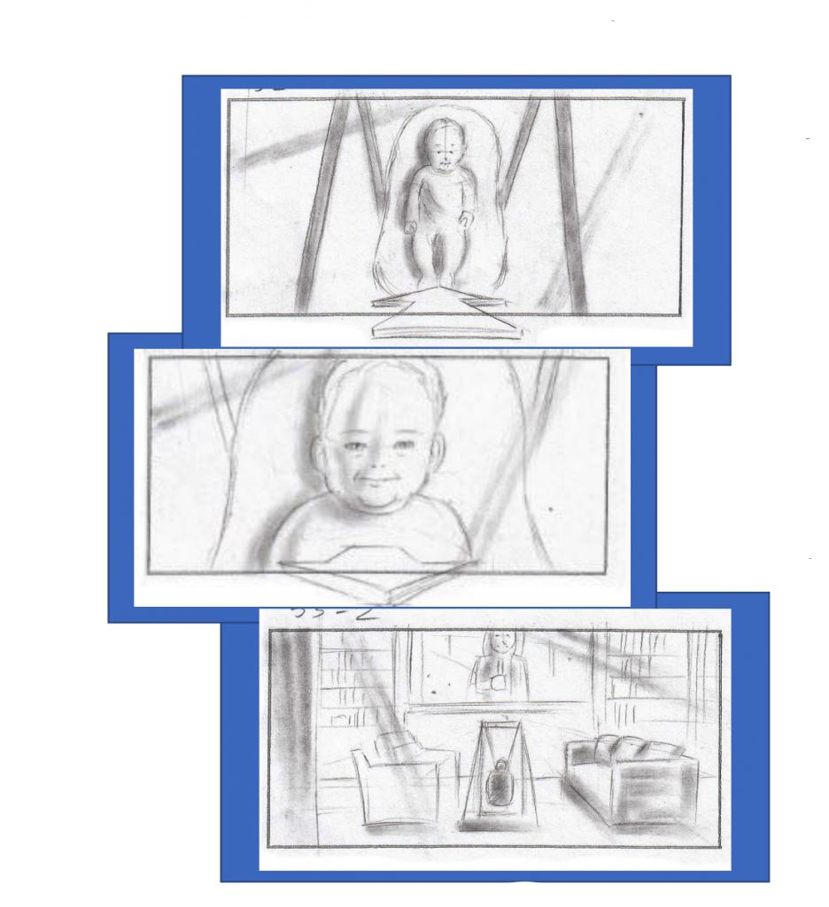 Three storyboard sketches from illustrator Brick Mason