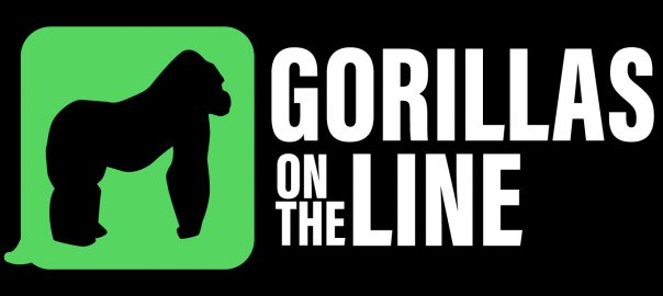 "Gorillas on the line logo with outline of a gorilla on a green background. The words ""gorillas on the line are in whlte on a black background."