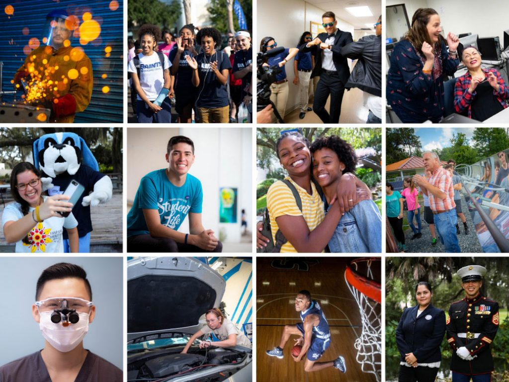 grid of 12 photos showing life at Santa Fe College