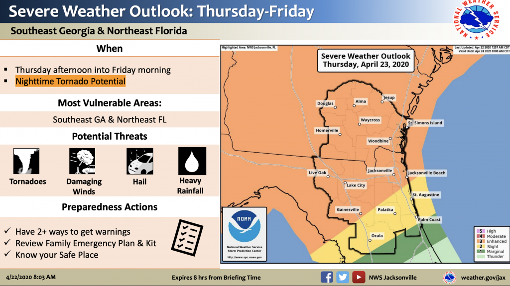 National Weather Service Alert showing an enhanced risk of storms for the SF service district Thursday into Friday
