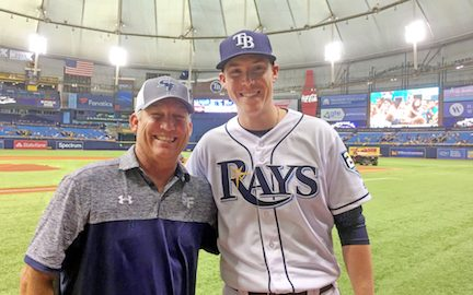 Coach Wiggs and Ryan Yarbrough at Tropicana Field in 2018