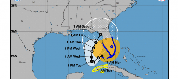 Track of Tropical Storm Eta showing possible landfall early Saturday morning near Cedar Key