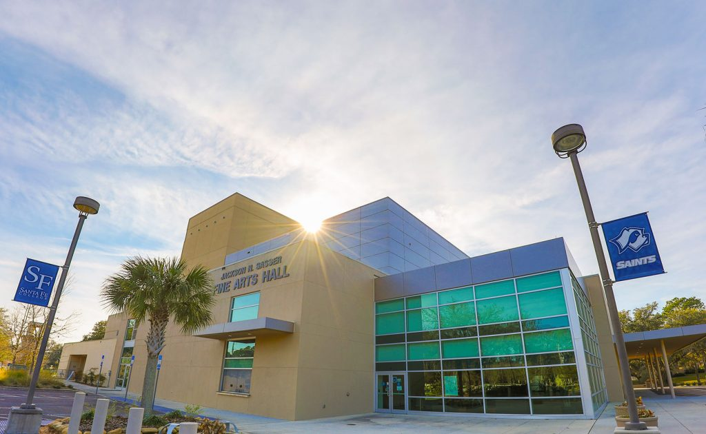 picture of the east facing side of the Jackson N. Sasser Fine Arts Hall.